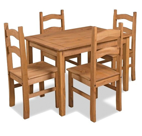 Conjunto cancun mesa com 4 cadeiras em madeira maci a r for Mesas para restaurante usadas