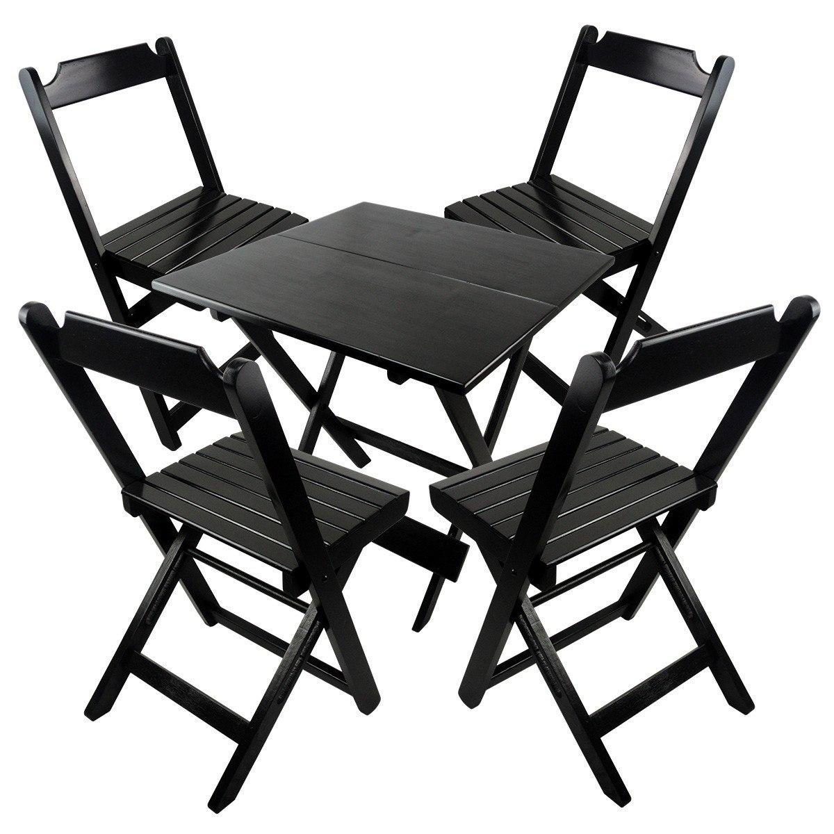 Conjunto De Cadeira E Mesa Dobrável De Madeira 70x70 Preto R$ 334  #565451 1200x1200