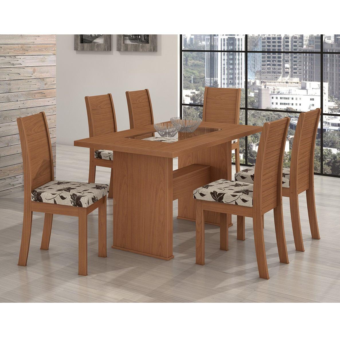 Conjunto De Mesa 100% Mdf 6 Cadeiras Sâmara New Sala Jantar R$ 1  #744930 1187x1179