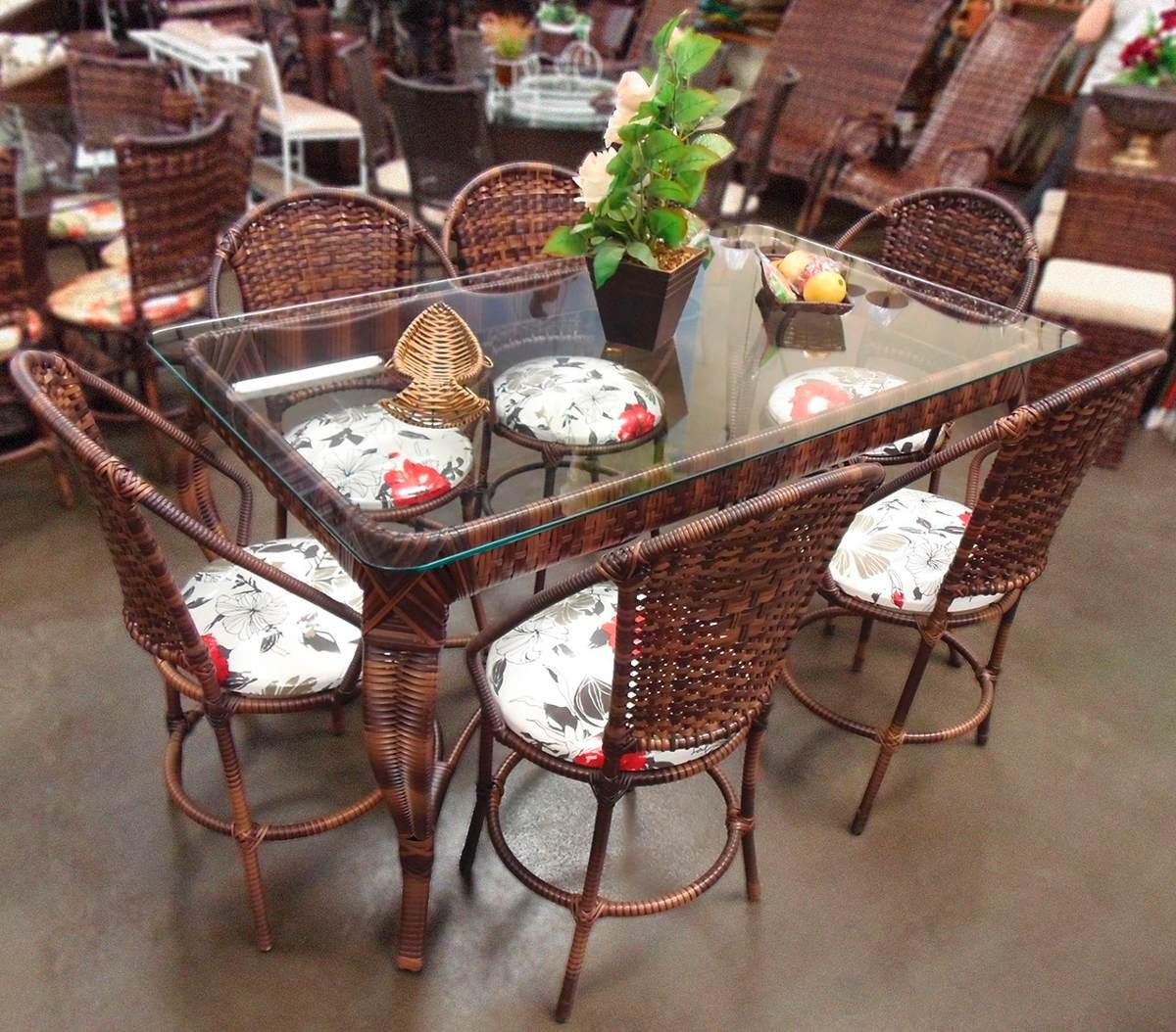 Conjunto De Mesa De Jantar E 6 Cadeiras Varanda Rattan Junco R$ 2  #446C25 1200x1054