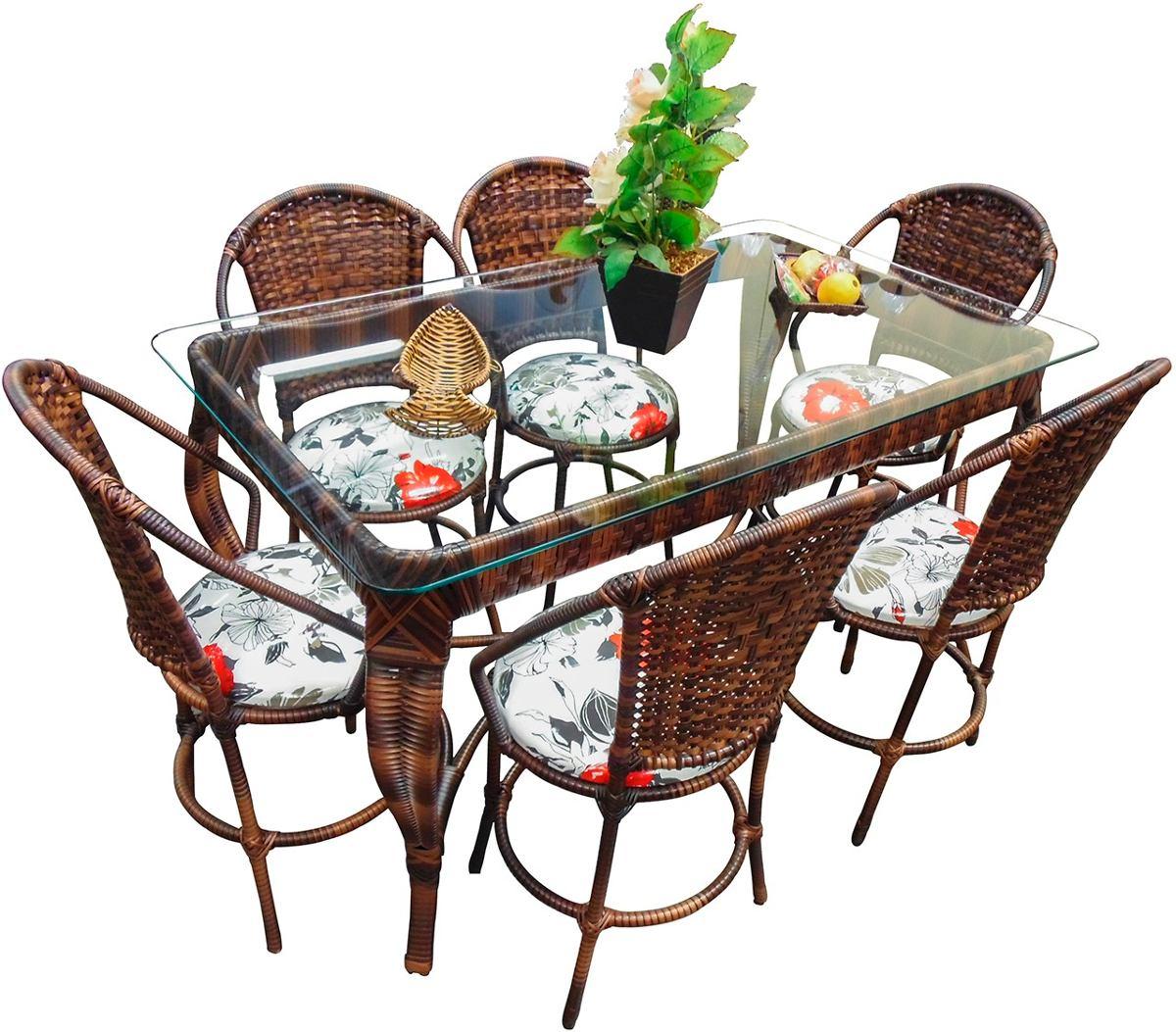 conjunto de mesa de jantar e 6 cadeiras varanda rattan junco 17058  #2E7C1E 1200x1053