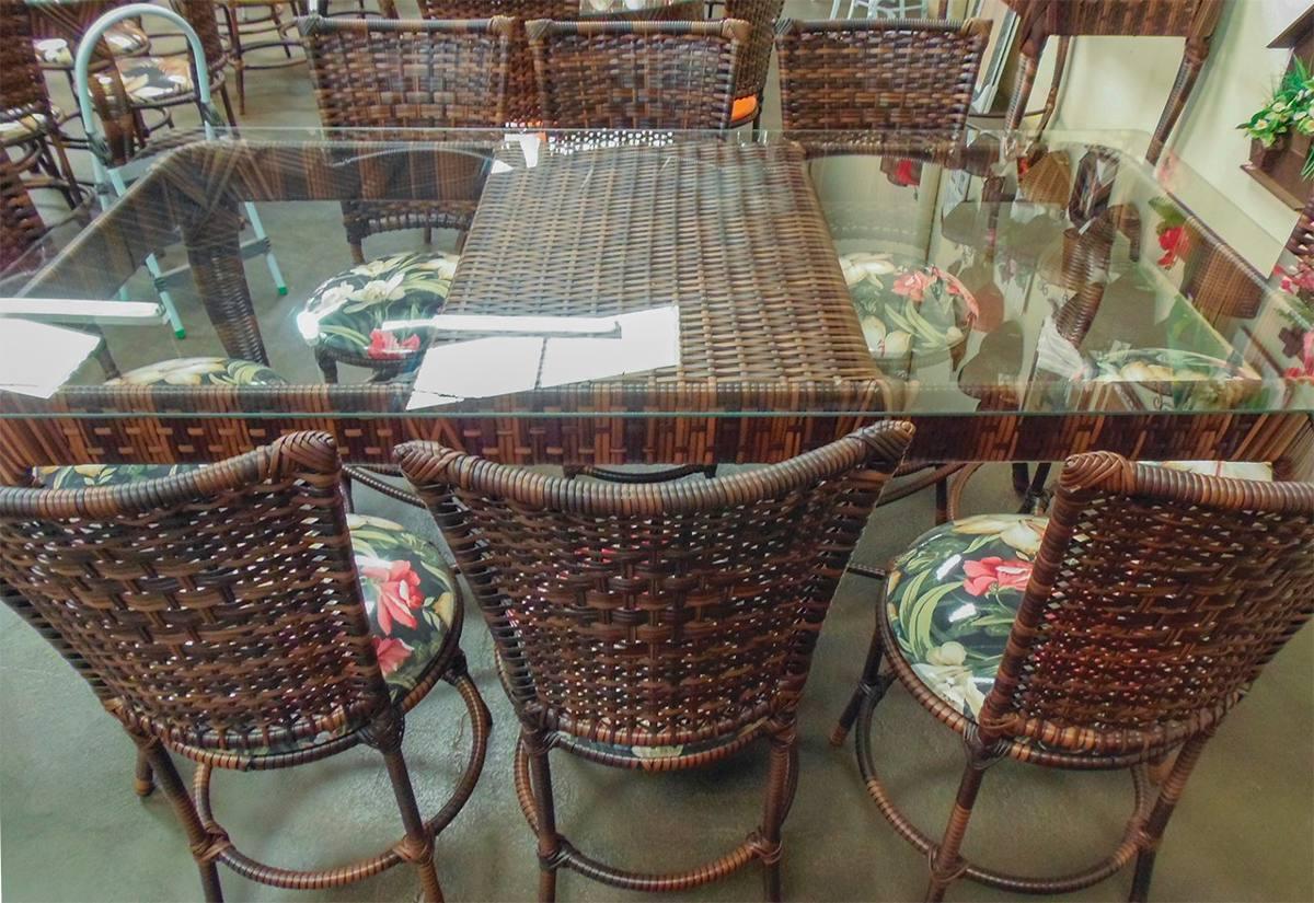 Conjunto de mesa retangular e 8 cadeiras rattan ferro - Mesas de rattan ...