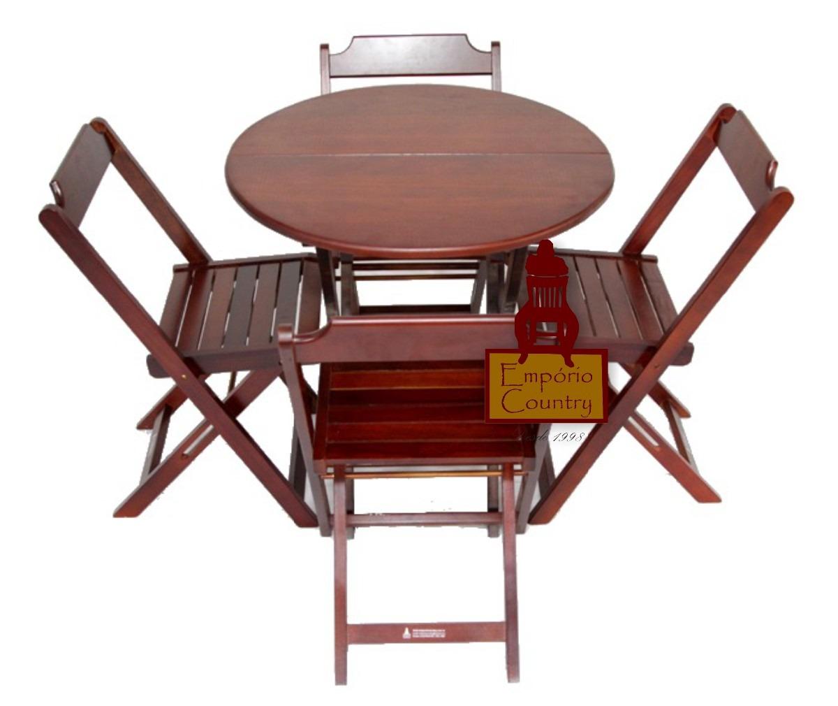 Conjunto Dobrável Mesa Redonda 1 00 Com 4 Cadeiras Madeira R$ 419  #401714 1200x1010