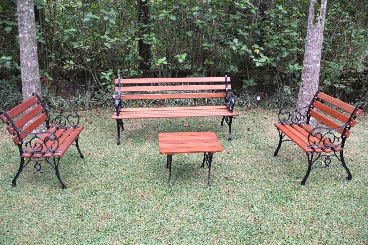 banco de jardim mesa: Francês Jardim Madeira Ferro Fundido 3 Banco 1 Mesa R$ 880