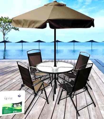 mesa jardim ombrelone:Conjunto Jardim Miami C/ Mesa 4 Cadeiras + Ombrelone – R$ 899,00 no