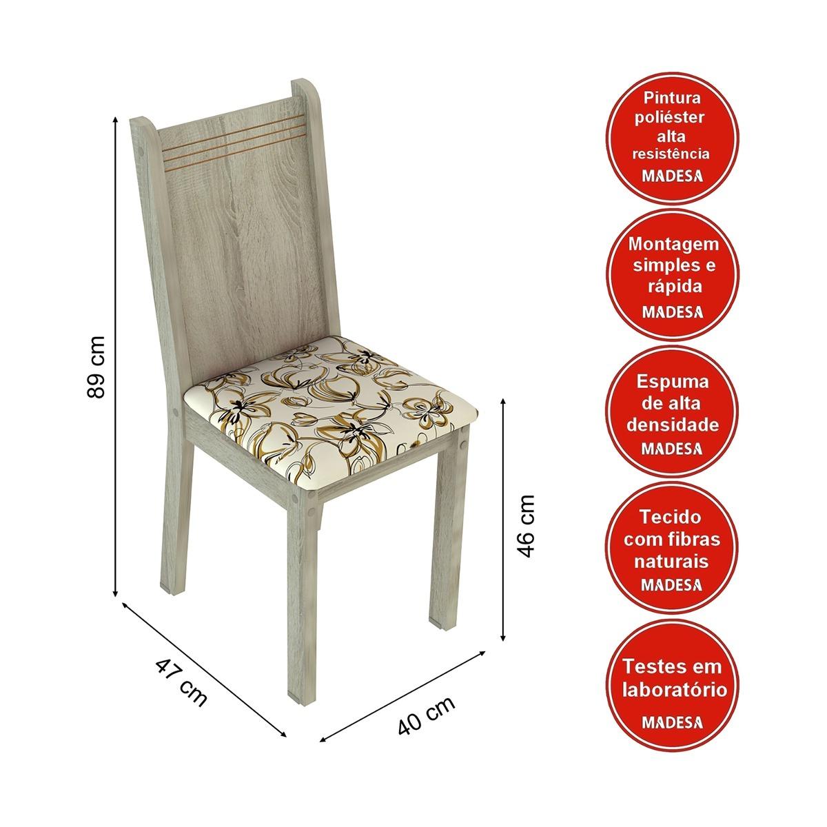 Conjunto Sala De Jantar Mesa E 4 Cadeiras Kate Madesa R$ 741 03 no  #BD1A0E 1200x1200