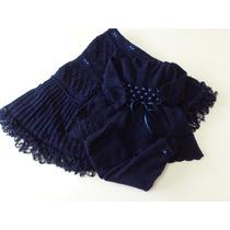Saida Maternidade Manta, Vestido E Calça Em Lã Azul Marinho