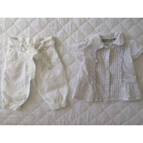 Lindo Conjunto Blusa E Calça Cinza E Branco 3 A 6 Meses