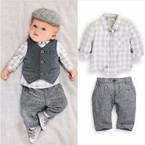 Conjunto Bebê Homenzinho Social Calça Camisa Colete Longo