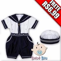 Conjunto Kit Bebê Infantil Marinheiro Camisa Calça Menino