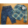 Calça Jeans Wrangler Camisa Xadrez Menino 12 A 18 Meses