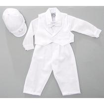 Conjunto Terno Social Para Bebê Batismo Casamento Branco