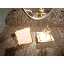 Conjunto Folheado A Ouro 18k Com Pedra Drusas Brancas