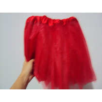Saia De Tule Vermelha 3 Camadas Tutu Bailarina