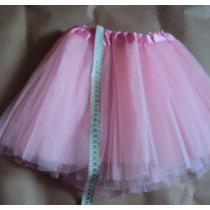 Saia De Tule Rosa Bebê 3 Camadas Tutu Bailarina