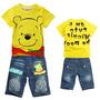 Conjunto Infantil Carros Mcqueen Pooh Camisa Bermuda