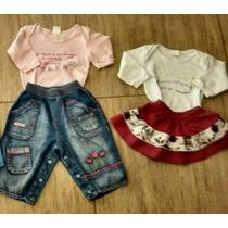 Lote Bebê Menina 4pçs Body, Calça Jeans, Saia Tam. G