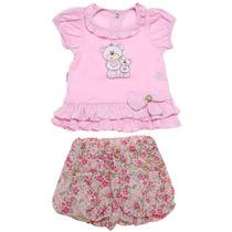Conjunto Infantil Menina Bata E Bermuda Ursas Rosa Ki-baby