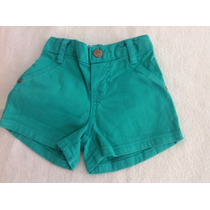 Short Jeans Verde Bebe Menina C/ Stretch Hering Barato D+.