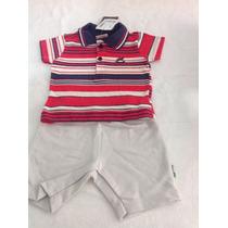 Conjunto Luxo Bebe Bermuda Puc E Camiseta Polo Barato D+.