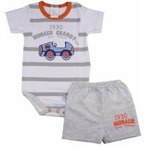 Conjunto Body E Short Infantil Bebe Masculino Bicho Molhado