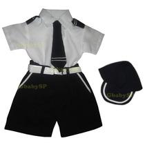 Conjunto Festa Fantasia Infantil Bebê Marinheiro Piloto