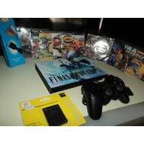 Ps2 Slim + Caixa + 5 Jogos + Memore Card +1 Controles+brinde