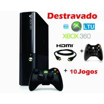 Xbox 360 S. Slim 4gb Ltu + 3.0 + 2 Controles+10 Jogos+ Live