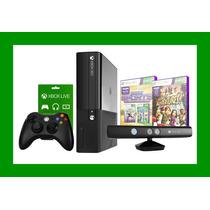 Xbox 360 4gb + Sensor Kinect + 2 Jogos + Live Gold Grátis