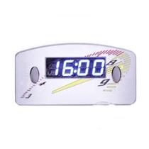 Relógio Horas Digital Carro Painel 12v Cinza Led Azul