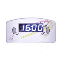 Relógio Digital Horas Painel Carro 12v Cinza Led Azul