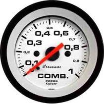 Manômetro Pressão Combustivel 1kg Street Branco Led Cronomac
