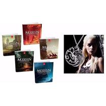 Kit Game Of Thrones 5 Livros Guerra Dos Tronos + Colar Série