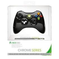 Controle Xbox 360 Sem Fio Wireless Chrome Series Preto