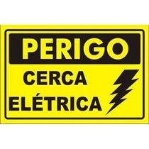 20 Placa Advertência: Perigo Cerca Elétrica Plástico