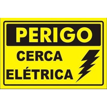 30 Placa Advertência: Perigo Cerca Elétrica Plástico