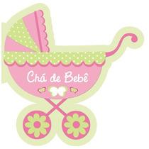 Convite Chá De Bebê Carrinho Menina - Com 40 Unidades