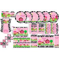 Kit Festa Fazendinha Rosa Personalizada Envio Por E-mail