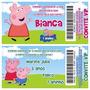 Convite Infantil Peppa Pig Tipo Ingresso - 50unidades