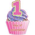 Kit Com 40 Convites De Aniversário De 1º Aninho Menina Bolo