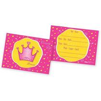 Cartão Convite Aniversário Coroa Princesa - Festa Reino 8u