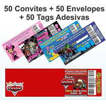 50 Convite Ingresso Com Envelopes + Tag Adesivo Frete Gratis