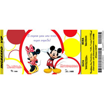 50 Convite Ingresso Mickey Minnie Juntos Disney Aniversário