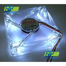 Cooler Ventilador 8x8 Cm Led Branco Ultra Silencioso Akasa