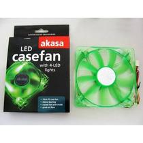 Cooler Fan 4 Led P/ Gabinete 120x120x25mm 12cm Verde Akasa