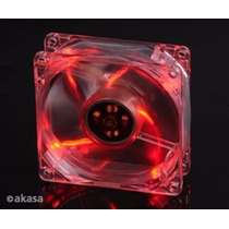 Cooler Akasa Vermelho Cristal 80x80 Fan 4 Leds Para Gabinete