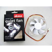 Cooler Fan 4 Led P/ Gabinete 80x80x25mm 8cm Branco Akasa ·