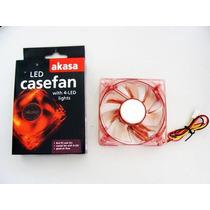 Cooler Fan 4 Led P/ Gabinete 80x80x25mm 8cm Vermelho Akasa