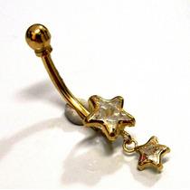 Piercing Umbigo Ouro 18k Estrelas Cristal - K1.70 - Pie1246