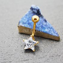 Piercing De Umbigo Estrela Folheado A Ouro 18k Com Zircônia